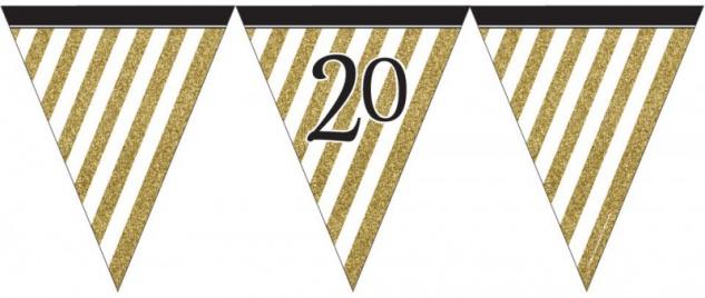 Wimpelkette 20. Geburtstag Black and Gold