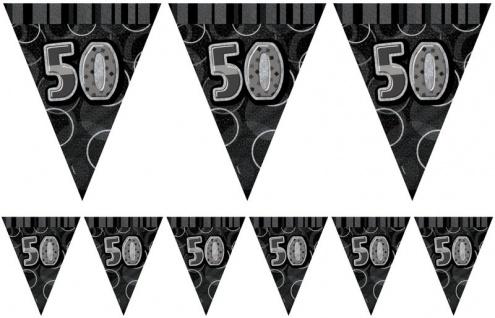 50. Geburtstag Wimpel Girlande Schwarz