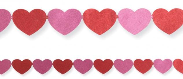 Glitter Girlande rosa rote Herzen