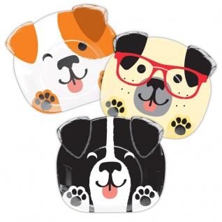8 geformte Papp Teller Hunde Party
