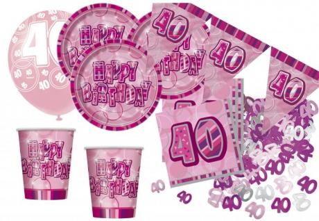 56 Teile zum 40. Geburtstag Party Set in Pink für 16 Personen