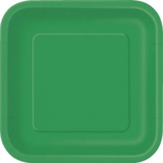 14 quadratische Pappteller Gras Grün