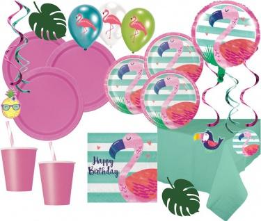 XXL 69 Teile Ananas und Freunde Flamingo Sommer Party Deko Basis Set - für 8 Kinder