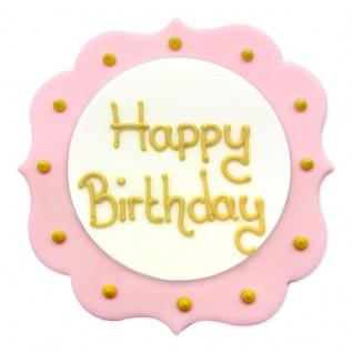 Zucker Plakette Happy Birthday Rosa Gold 7, 5 cm