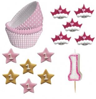 Erster Geburtstag Muffin Dekorations Backset Rosa für bis zu 75 Cupcakes