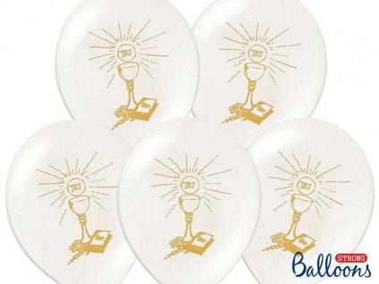 6 Luftballons Kommunion und Taufe - weiß mit gold