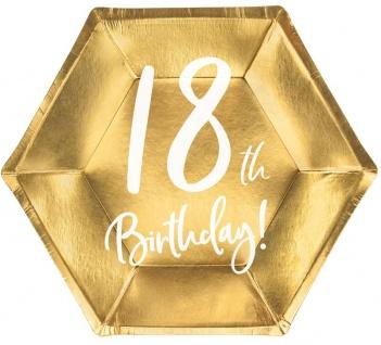 6 Papp Teller zum 18. Geburtstag Gold Metallic