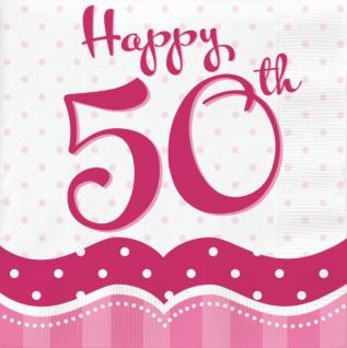 58 Teile zum 50. Geburtstag Party Set Perfectly Pink für 16 Personen - Vorschau 4