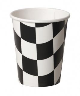 8 Schwarz Weiß Papp Becher Formel 1