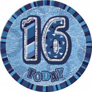 XXL Glitzer Button 16. Geburtstag Blau