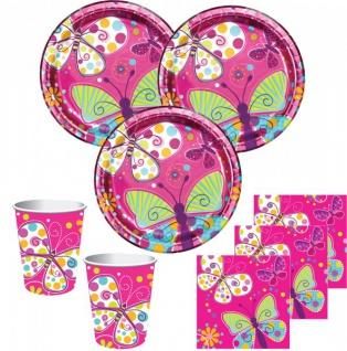32 Teile Schmetterling in Pink Party Deko Set für 8 Personen