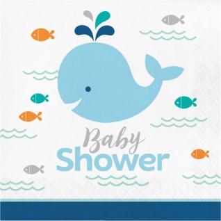 16 Servietten Happy Baby Wal Party Blau Babyshower