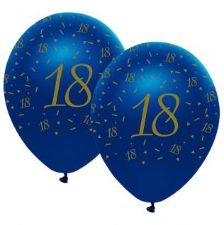 6 Luftballons blauer Achat zum 18. Geburtstag in Gold bedruckt