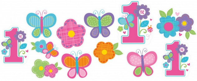 12 Pappschilder Erster Geburtstag Sweet Girl