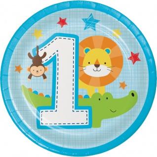 8 kleine Teller 1. Geburtstag im Zoo Blau - Vorschau 1