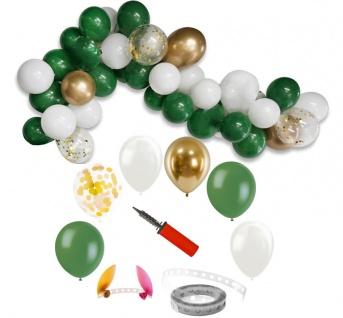 DIY Ballongirlanden Set Grün Weiß und Gold