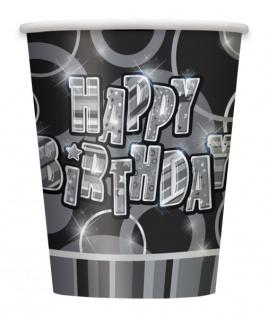 8 Happy Birthday Party Becher Schwarz