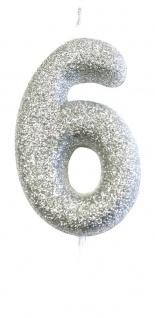 Schimmernde Glitzer Zahlenkerze Silber 6