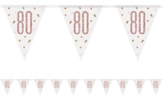 Wimpel Girlande Urban Apricot Glitzer zum 80. Geburtstag