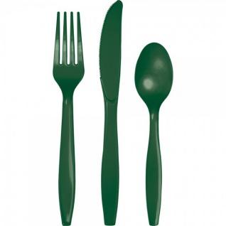 24 Teile Premium Plastik Besteck Dunkel Grün