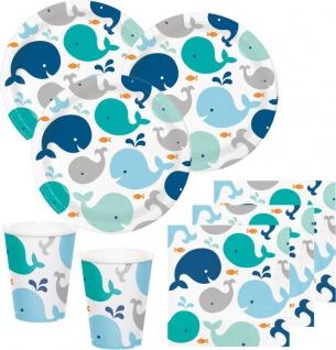 48 Teile Happy Baby Wal Party Set in Blau für 16 Personen - Ozean