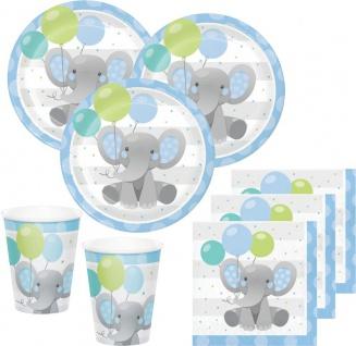 48 Teile Blauer Baby Elefant Party Deko Set für 16 Personen
