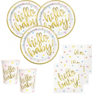 48 Teile Hello Baby Babyshower Party Deko Set Gold foliert für 16 Personen
