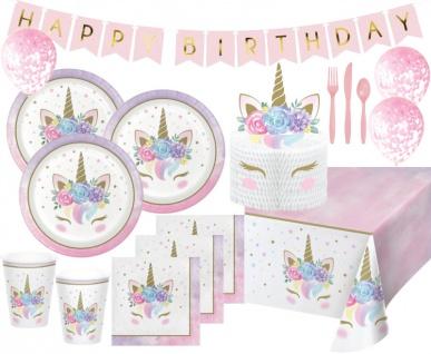 XL 65 Teile Baby Einhorn Party Deko Set für 8 Kinder