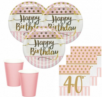 36 Teile Pink Chic Party Deko Set zum 40. Geburtstag in Rosa und Gold Glanz für 8 Personen