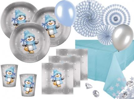 XL 79 Teile Pinguin Junge in Hellblau und Silber Deko Set für 16 Personen