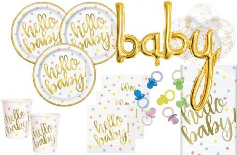 XL 74 Teile Hello Baby Babyshower Party Deko Set Gold foliert für 16 Personen