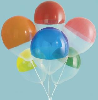 6 bunt gemischte Luftballons Transparent zweifarbig