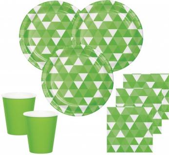 32 Teile Party Deko Set Limonen Grün Triangel Fractals für 8 Personen