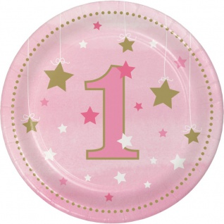 8 kleine Papp Teller blinke kleiner Stern zum 1. Geburtstag in Rosa