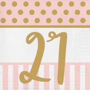 36 Teile Pink Chic Party Deko Set zum 21. Geburtstag in Rosa und Gold Glanz für 8 Personen - Vorschau 4