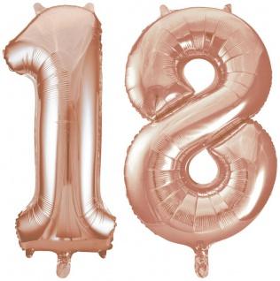 Folien Ballon Zahl 18 in Rosegold - XXL Riesenzahl 86 cm zum 18. Geburtstag