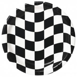 8 Teller Schwarz Weiß Formel 1 Party