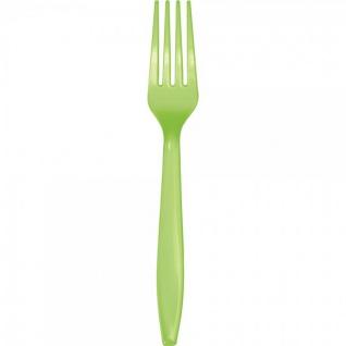 24 Premium Plastik Gabeln Limonen Grün