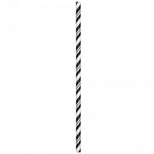 24 Papier Trinkhalme schwarz weiß gestreift - Vorschau 2