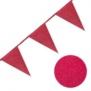 Rote Wimpel Girlande aus Papier mit Glitter 6 Meter