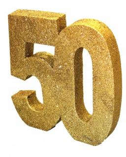 Deko Glitzer Zahl 50. Geburtstag oder Jubiläum in Gold