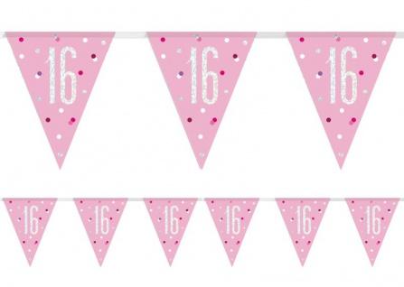 Wimpel Girlande Pink Dots Glitzer zum 16. Geburtstag