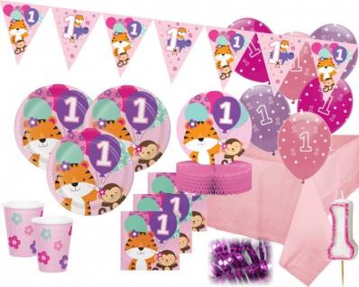 XXL 43 Teile Erster Geburtstag im Zoo Rosa Party Deko Set 8 Personen - Tiger