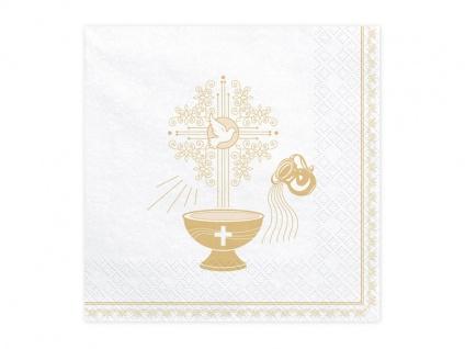 Taufe Kommunion 20 Servietten Weiß mit Gold