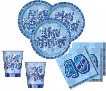 48 Teile Party Set zum 40. Geburtstag in Blau für 16 Personen