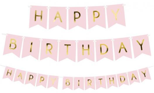 Geburtstags Girlande Rosa mit Gold folierter Schrift