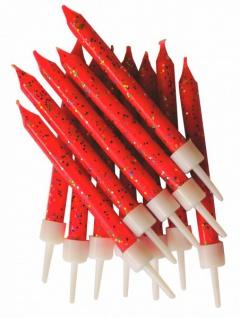 12 Glitzer Kerzen Rot