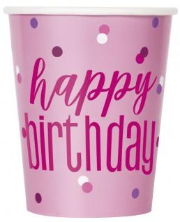 8 Papp Becher Pink Dots Happy Birthday
