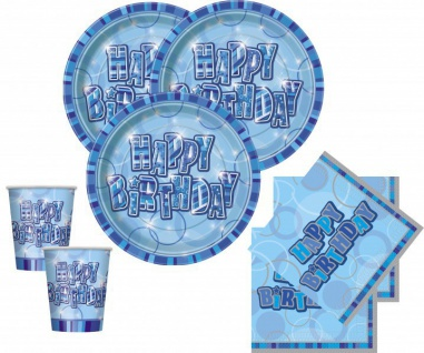 48 Teile Geburtstags Party Set in Blau für 16 Personen