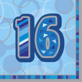 16. Geburtstag Servietten Blau